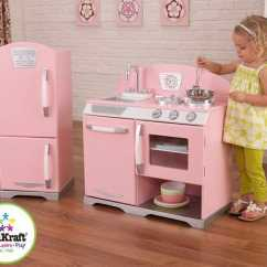 Retro Kids Kitchen Cabinets Cape Coral 历史新低 Kidkraft 粉红复古儿童玩具厨房 冰箱套装4 6折119 98加元包邮 98加