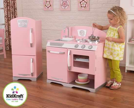 kidkraft toy kitchen cabinet franchise 历史新低 粉红复古儿童玩具厨房 冰箱套装4 6折119 98加元包邮 98加
