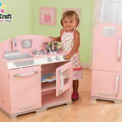 Kidkraft Toy Kitchen Butcher Block Cart 历史新低 粉红复古儿童玩具厨房 冰箱套装4 6折119 98加元包邮 98加