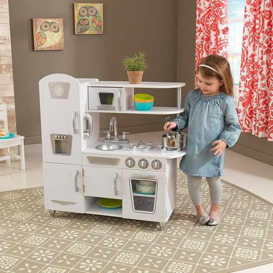 kid craft kitchen lighting fixtures 近史低价 kidkraft 53208 白色复古款儿童仿真厨房4 6折119 99加元包邮 99