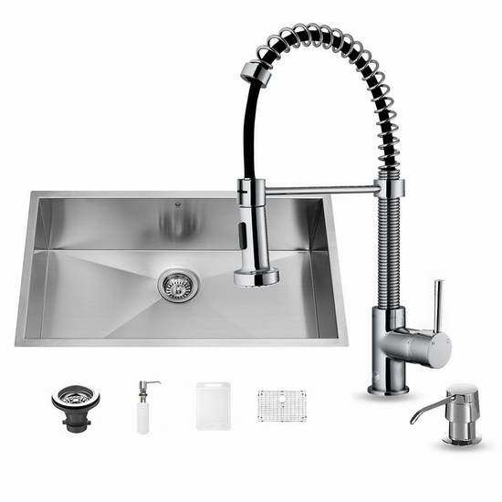 36 inch kitchen sink buy 历史新低 vigo vg15147 36英寸不锈钢单盆水槽 水龙头套装297 46加元包邮 46加