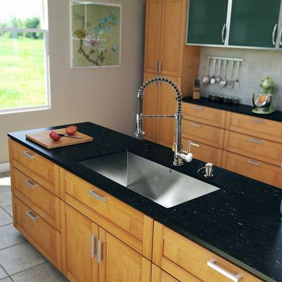 36 inch kitchen sink towel hanger 历史新低 vigo vg15147 36英寸不锈钢单盆水槽 水龙头套装297 46加元包邮 46加