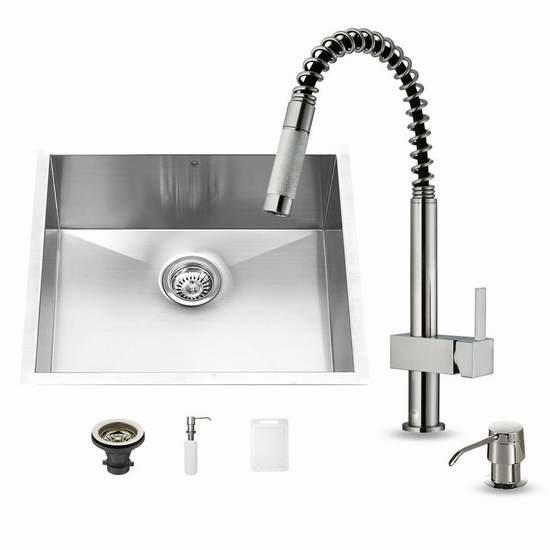 kitchen sink at lowes desk ideas vigo 加拿大打折网 vg15024 不锈钢单盆水槽 可拉出式水龙头套装2折165 65加元清仓并包邮 比lowe s单个水龙头还便宜一半