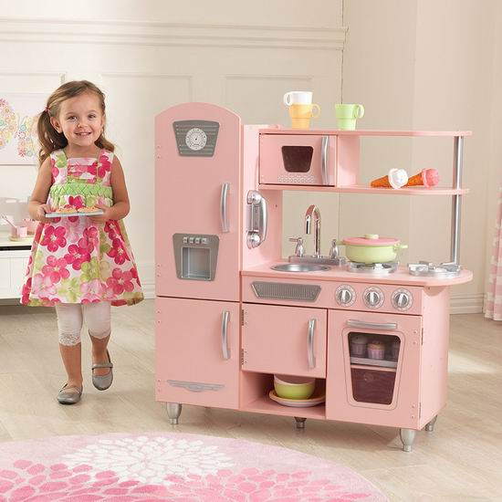 kid craft kitchen how to build your own cabinets 销量冠军 kidkraft 53179 vintage 粉红复古儿童木质玩具厨房6 9折149 99 99加