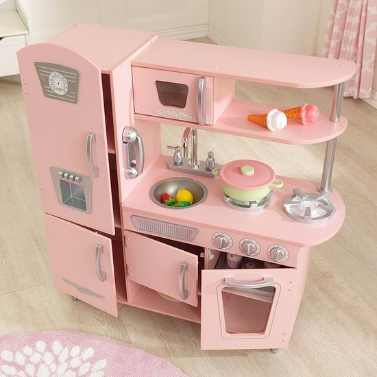 retro kids kitchen cherry table 销量冠军 kidkraft 53179 vintage 粉红复古儿童木质玩具厨房6 9折149 99 99加