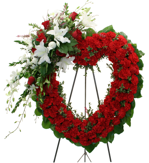 funeral wreaths crosses heart