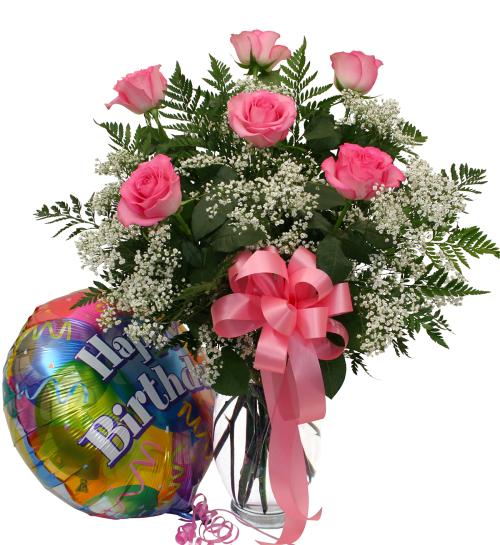 birthday roses and balloon