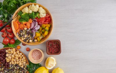 Healthy vegan lunch bowl, buddha bowl salad with ingredients. ch
