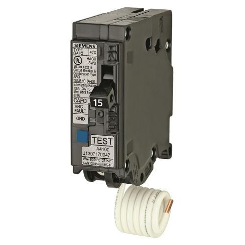 Siemens 15 Amp Arc Fault Single Pole Circuit Breaker Qa115afc Ace