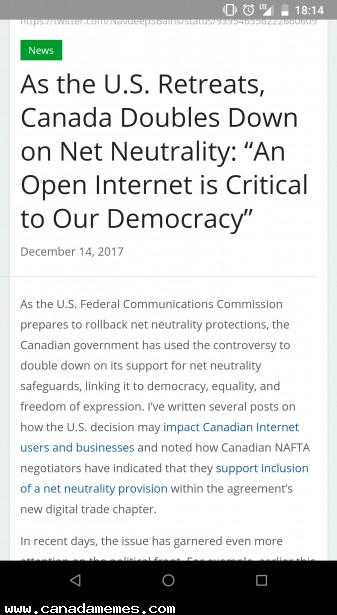 Canada double doubles down on Net Neutrality
