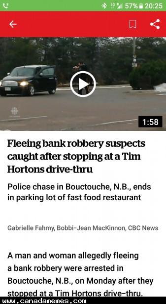 Classic Canadian bank robbery shenanigans! - Canada Memes