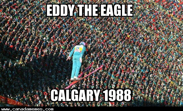 "Eddy ""The Eagle"" Edwards, flying over the crowd in Calgary 1988"