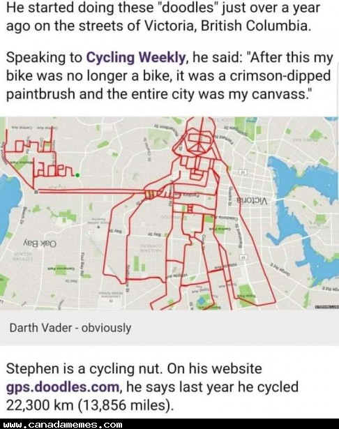 🇨🇦 Victoria BC man makes doodles from his bike rides