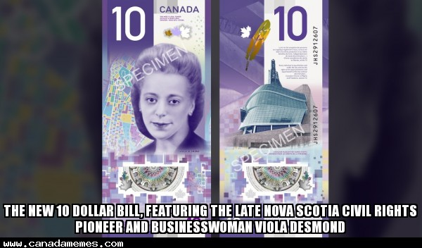 🇨🇦 The new 10 dollar bill, featuring the late Nova Scotia civil rights pioneer and businesswoman Viola Desmond