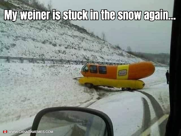 My weiner is stuck in the snow again...