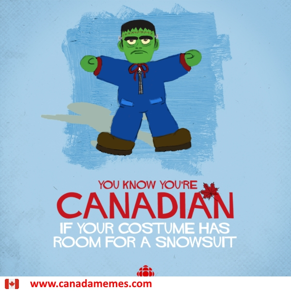 You know you're Canadian when your costume has room for a snowsuit