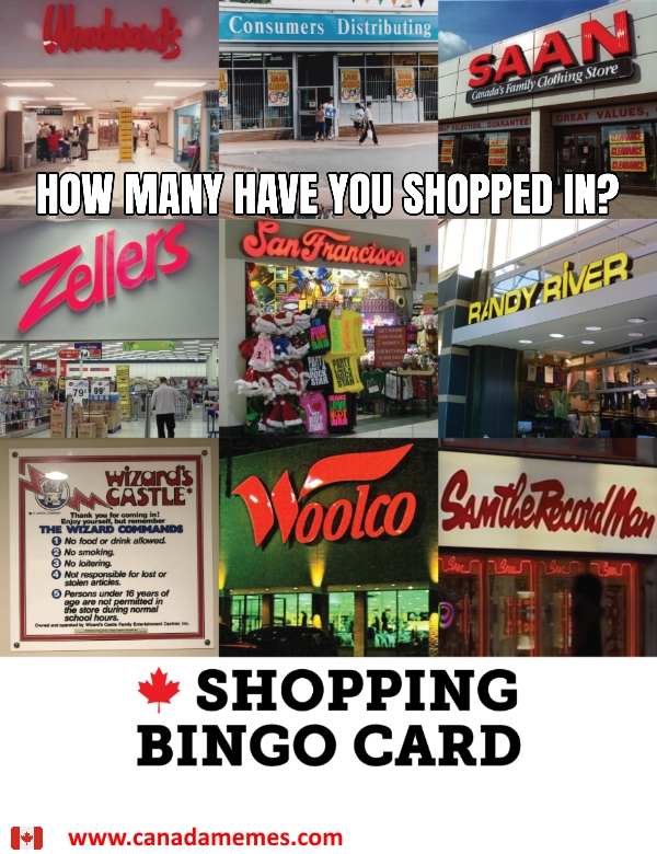 Canadian Shopping Bingo Card - How many have you shopped in?