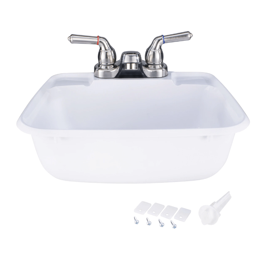 white rectangle rv bathroom sink w brushed nickel faucet combo