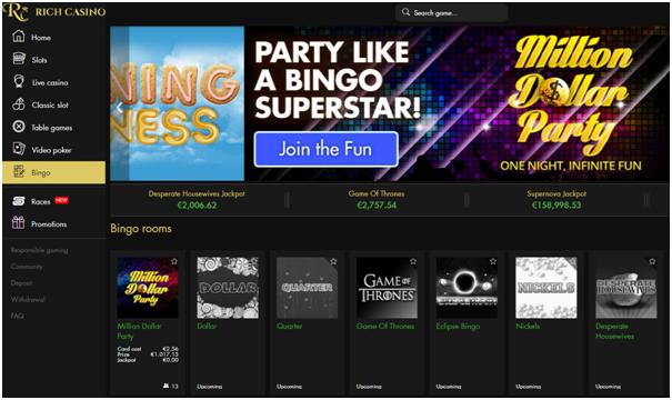 Play Bingo at Rich Casino in CAD