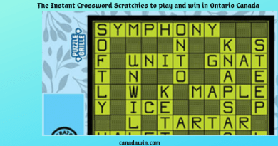 The Instant Crossword Scratchies to play and win in Ontario Canada
