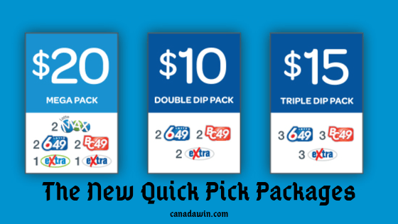 What are the three new quick pick packages on popular lottery games in Canada?