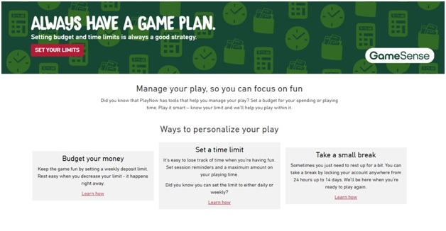 How to set a limit to lottery and slot games using game sense tools?