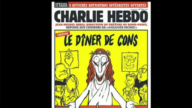 Screenshot of CBC News showing a Charlie Hebdo cover. The cover features Jesus, with caption Le Dîner de Cons (dinner for dumbasses).