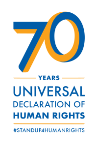 "[Logo for the 70th anniversary of the Universal Declaration of Human Rights. It is a stylized blue and orange ""70"" over the words ""years"", which is over the words ""Universal Declaration of Human Rights"", which is over ""#standup4humanrights"".]"