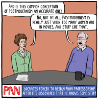 "[An illustration of Simone de Beauvoir as a news anchor interviewing Richard Rorty for the fictional PNN (Philosophy News Network). De Beauvoir asks: ""And is this common conception of postmodernism an accurate one?"" Rorty replies: ""No, not at all. Postmodernism is really just when too many women are in movies, and stuff like that."" Below them is a CNN-like crawl that says: ""Socrates forced to resign from professorship after it's discovered that he knows some stuff"".]"