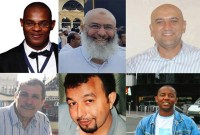 [Photos of the six victims of the Québec City mosque shooting: Mamadou Tanou Barry, Azzeddine Soufiane, Abdelkrim Hassane, Ibrahima Barry, Aboubaker Thabti and Khaled Belkacemi.]