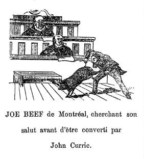 "[Cartoon illustrating Charles McKiernan standing in front of a judge in court, holding up a pig by its hind legs, looking into its ass hole. The caption reads: ""JOE BEEF de Montréal, cherchant son salut avant d'être converti par John Currie.""]"
