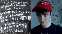 """[Photo posted by the Christchurch mosque shooter showing some of the ammunition magazines to be used in the attack labelled with: """"For Rotherham"""", """"Alexandre Bissonnette"""", """"Luca Traini"""", several words in Cyrillic, """"Sebastiano Venier"""", """"Shipka pass 1877–78"""", and """"Novak Vujošević"""". Next to that photo is a photo of Alexandre Bissonnette in a """"Make America Great Again"""" hat.]"""