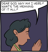 "[A comic panel with a woman praying: ""Dear God, why am I here? What's the meaning of it all?""]"