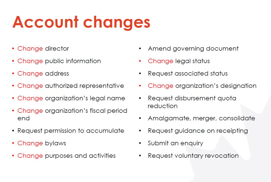 CHAMP account changes for registered charities