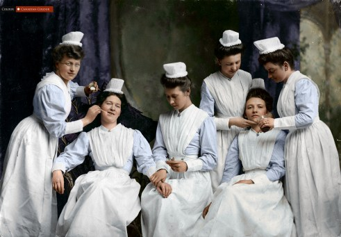 Nurses 1904 - Colourized Photograph