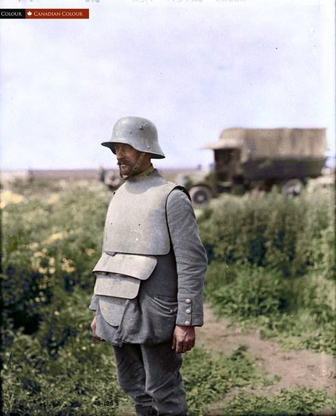 German w/Body Armour - Colourized Photograph