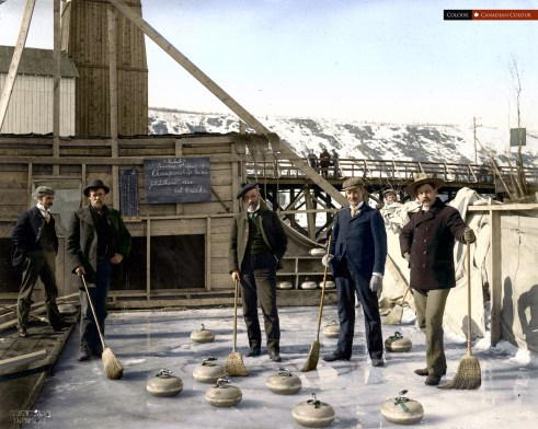 Dawson Curling Club - Colourized Photograph