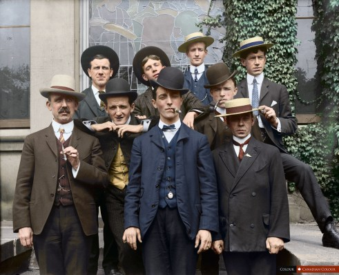Picnic Committee - Colourized Photograph