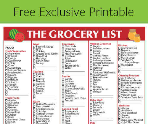Free Grocery List Checkmark Designed For Canada Printable