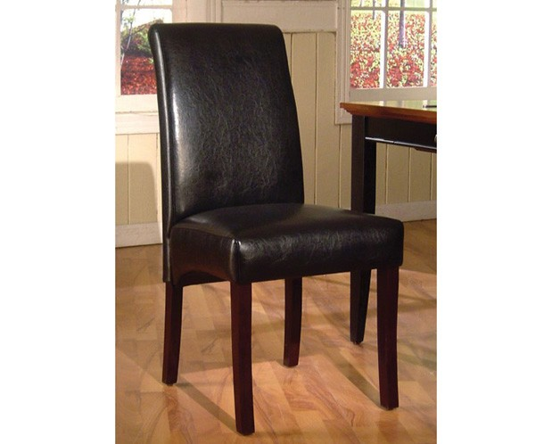 Parsons leather dining chair black canadian for Black leather parsons chairs