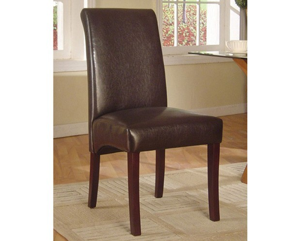 Parsons leather dining chair brown canadian for Leather parsons dining chairs