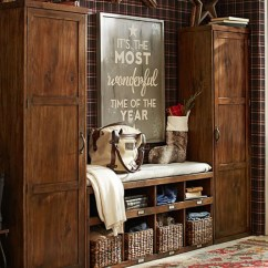 Living Room Footstool Dividing A Large Rustic Entryway - Entrance Furniture & Decor
