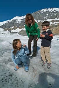 Kids enjoying some of the freshest water in the world on the Columbia Icefield.