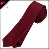 Mens Burgundy Red Plain Skinny Tie- Canadian Ties