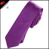 Mens Plum Grape Purple Plain Skinny Tie- Canadian Ties