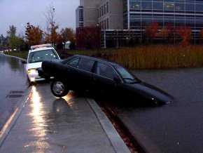 Car in Pond