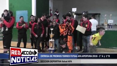 Photo of Redacción Noticias |  FUTSAL AFA: ENTREGA DE PREMIOS APERTURA 2018 – LAS HERAS SANTA CRUZ