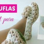 Pantuflas a crochet tamaño adulto
