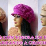 DIY Boina a crochet con visera punto garbanzo