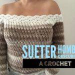 Suéter con hombros descubiertos tejido a crochet